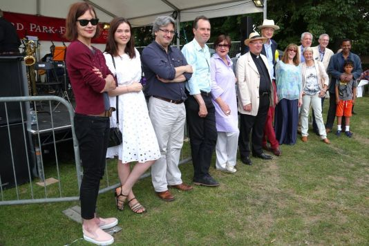 For the 50th Green Days in 2016, we invited a dozen local celebrities who had opened the Festival before. l-r: Elizabeth McGovern, Sophie Ellis Bextor, Fergal Keane, David Juritz, Susannah Simons, Fr Kevin Morris, Sir George Young, Phyllis Logan, Alice Arnold, Gavin Campbell, Jeremy Vine, Rageh Omaar (and son).