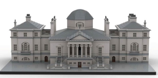 The Lego model of Chiswick House when completed, showing the two wings (now demolished)