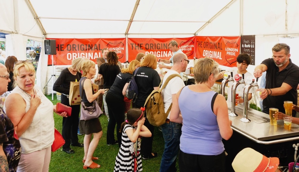 The busy team in the Beer Tent sponsored by Fullers and John D Wood