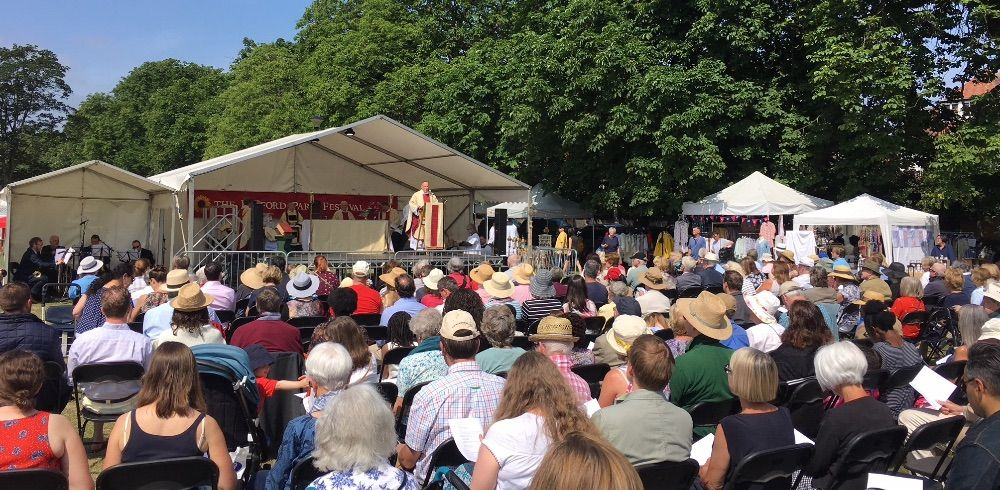 A capacity crowd for the Mass on the Green: St Michael & All Angels Church has organised the Bedford Park Festival for 54 years and Green Days weekend is its church fete. This year it is celebrating 140 years serving the community in Chiswick.