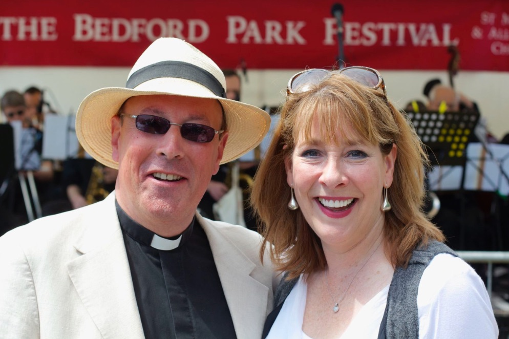 Phyllis Logan with Fr Kevin Morris