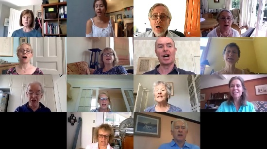 Singers from home on Zoom